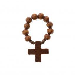 Copertina di 'Decina rosario in legno naturale - grani tondi 7 mm'