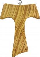 Croce Tau da parete in legno di ulivo (croce di San Francesco d'Assisi) - 16 cm