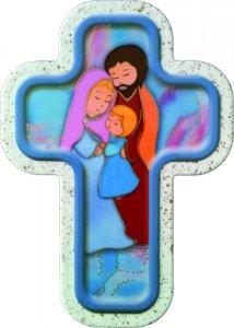 """Copertina di 'Croce laccata """"Sacra Famiglia""""  -  altezza 13 cm'"""