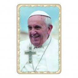 """Copertina di 'Card dettaglio """"Papa Francesco"""" con preghiera e crocetta - (10 pezzi)'"""