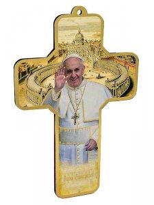Copertina di 'Croce in legno con immagine di Papa Francesco - dimensioni 13x9 cm'