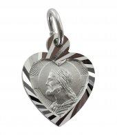 Medaglia Volto Cristo in argento 925 a forma di cuore 1,4 cm