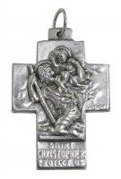 Croce San Cristoforo + Sacra Famiglia in metallo ossidato - 3,5 cm