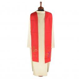 Copertina di 'Stola rossa con ricamo policromo a croce con pesce e pane'