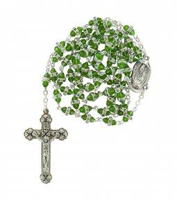 Copertina di 'Rosario semicristallo verde con strass bianchi'
