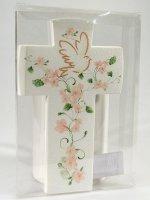 Immagine di 'Croce con colomba effetto pietra - Fiore pesca'