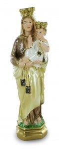 Copertina di 'Statua Madonna del Carmine in gesso madreperlato dipinta a mano - 30 cm'