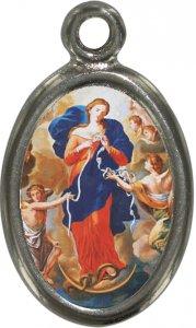 Copertina di 'Medaglia Madonna che scioglie i nodi in metallo nichelato e resina - 1,5 cm'