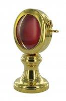 Immagine di 'Reliquiario a ostensorio in ottone color oro - altezza 9,5 cm, Ø 5,3 cm'