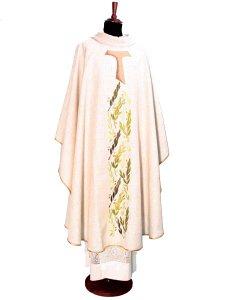 Copertina di 'Casula francescana in canapa e lino con ramoscelli d'ulivo e tau ricamati'