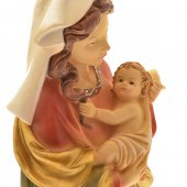"""Immagine di 'Statua in resina colorata antichizzata """"Madonna delle coccole"""" - altezza 30 cm'"""