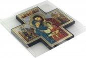 Immagine di 'Croce icona Sacra Famiglia in legno - 15 x 15 cm'