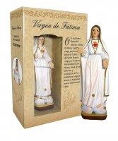 Statua di Madonna Fatima da 12 cm in confezione regalo con segnalibro in versione SPAGNOLO