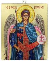 Icona Arcangelo Raffaele dipinta a mano su legno con fondo orocm 16x19