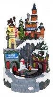 Villaggio natalizio con negozi e treno in movimento, luci, musica (21 x 35 x 22 cm)