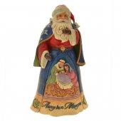 Babbo Natale con Natività in resina colorata - altezza 27 cm