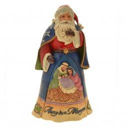 Copertina di 'Babbo Natale con Natività in resina colorata - altezza 27 cm'
