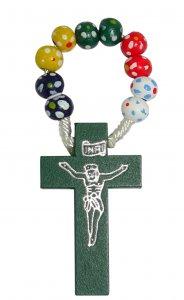 Copertina di 'Rosario decina in legno legatura seta mm 7 - missionario floreale'
