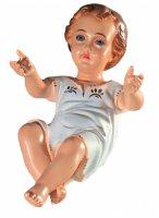 Gesù Bambino in poliestere con occhi in cristallo -  cm 38