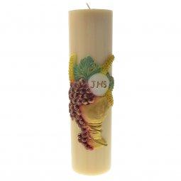 """Copertina di 'Cero in cera d'api con bassorilievo """"calice, uva e scritta IHS"""" - altezza 30 cm'"""