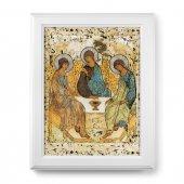 """Quadro """"Trinità"""" di A. Rublëv con lamina oro e cornice con decorazione a sbalzo"""