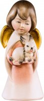 Angelo sognatore con coniglietto - Demetz - Deur - Statua in legno dipinta a mano. Altezza pari a 5 cm.