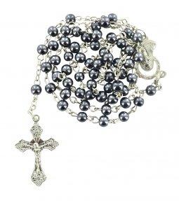 Copertina di 'Rosario imitazione perla tonda Ø 4 mm colore ematite'
