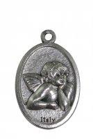 Medaglia angelo ovale in metallo mis. 2,5 x 1,5 cm.
