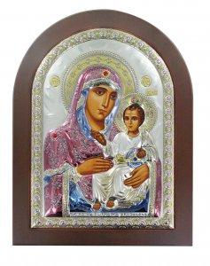 Copertina di 'Icona Greca Madonna di Gerusalemme con lastra in argento a forma di arco - 15 x 20 cm'