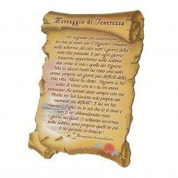 """Copertina di 'Quadretto a forma di pergamena con piedino da appoggio """"Messaggio di Tenerezza"""" (10 x 7)'"""