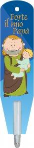 """Copertina di 'Penna segnalibro """"San Giuseppe col Bambinello"""" - dimensioni 3x13 cm'"""