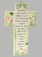 Croce Ave Maria effetto pietra - Sfondo verde