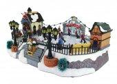 Immagine di 'Villaggio natalizio con pista di pattinaggio, movimento, luci, musica (39 x 18,5 x 28 cm)'