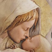"""Immagine di 'Quadro in resina con bordo irregolare """"Sacra Famiglia"""" - dimensioni 43x28 cm'"""