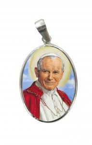 Copertina di 'Medaglia ovale con profilo in argento 925 - Papa San Giovanni Paolo II'