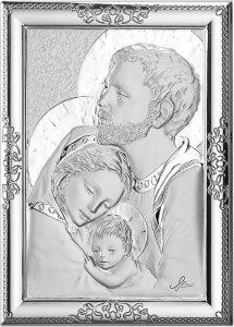 Copertina di 'Quadro Sacra Famiglia con lastra in argento 925 - Bassorilievo - 12 x 9 cm'