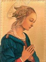 Tavola Madonna del Lippi stampa su legno - 24 x 17 cm
