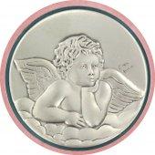 Immagine di 'Sopraculla tondo di colore rosa con angioletto in argento - diametro 9 cm'