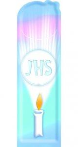 Copertina di 'Segnalibro sagomato Comunione JHS - dimensioni 15x 4,5 cm'