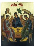 Icona Trinità dipinta a mano su legno con fondo orocm 19x26