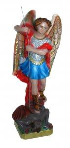Copertina di 'Statua San Michele in gesso madreperlato dipinta a mano - 30 cm'