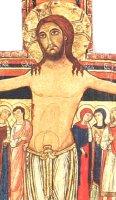 Immagine di 'Crocifisso San Damiano da parete stampa su legno - 8 x 6 cm'