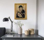 """Immagine di 'Quadro """"Madonna di Vladimir"""" con lamina oro e cornice dorata - dimensioni 44x34 cm'"""