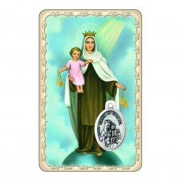 """Copertina di 'Card """"Madonna del Carmine"""" con preghiera e medaglia - (10 pezzi)'"""