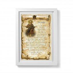 """Copertina di 'Quadretto pergamena """"Io credo - simbolo apostolico"""" con passe-partout e cornice minimal - dimensioni 20x15,5 cm'"""