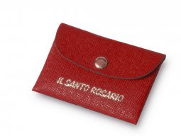 Copertina di 'Borsellino portarosario in ecopelle rossa - dimensioni 7x11 cm'