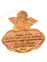 """Angioletto in legno d'ulivo """"Angelo di Dio"""" su sfondo rosa - dimensioni 13x13 cm"""