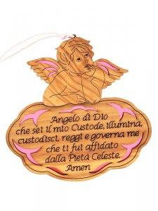 """Copertina di 'Angioletto in legno d'ulivo """"Angelo di Dio"""" su sfondo rosa - dimensioni 13x13 cm'"""