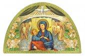 Tavola Madonna del Divino Amore stampa su legno ad arco - 18 x 12 cm
