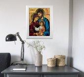 """Immagine di 'Quadro """"Famiglia di Nazareth"""" con lamina oro e cornice con decorazione a sbalzo'"""